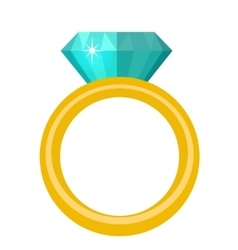 Ring with diamond gems rings icon flat design vector image vector image