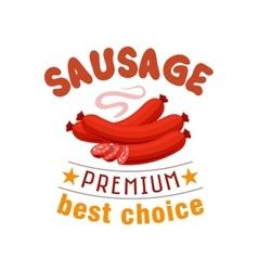 Sausage grill fast food menu label emblem vector image