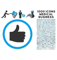 Thumb Up Icon with 1000 Medical Business Symbols vector image