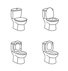 Toilet sketch sign toilet bowl with seat line art vector