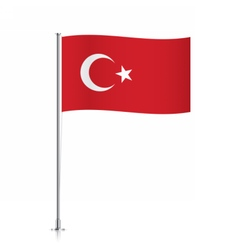 Turkey flag waving on a metallic pole vector