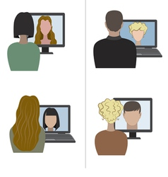 Two pair having a video chat through the internet vector image vector image