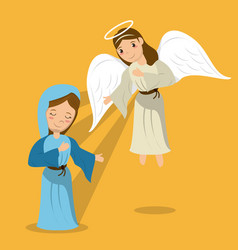 Virgin mary with angel annunciation scene vector