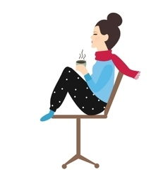Woman holding coffee tea mug in chair enjoy her vector