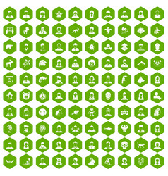 100 avatar icons hexagon green vector