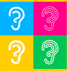 human ear sign four styles of icon on four color vector image