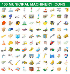 100 municipal machinery icons set cartoon style vector