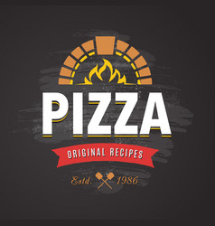 Pizza emblem vector