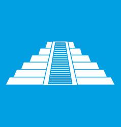Ziggurat in chichen itza icon white vector