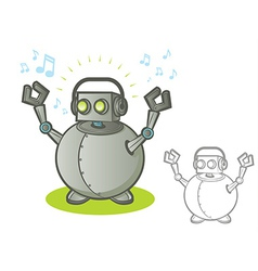 Robot with headphones vector