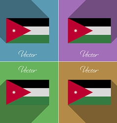 Flags jordan set of colors flat design and long vector