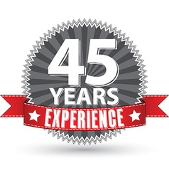 45 years experience retro label with red ribbon vector image vector image