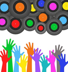 Vinyl record and multicolored hands crowds vector