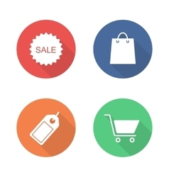 Shopping flat design icons set vector