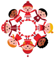 Happy multicultural winter kids holding hands vector