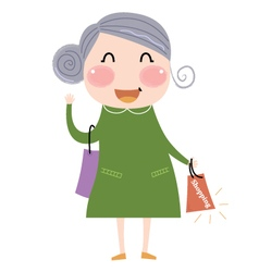 Cute grandmother with shopping bag vector