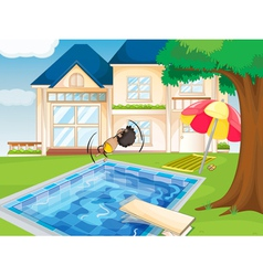 a house and a boy vector image