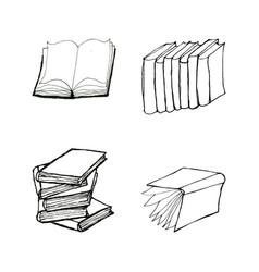 Book doodles set vector