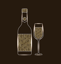 bottle champagne and glass celebration vector image