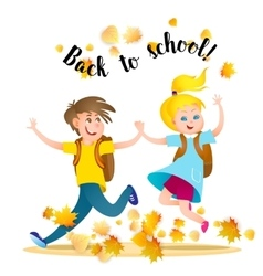 Boy and girl running to school holding hands vector image vector image