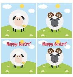 Cartoon sheep icon set vector