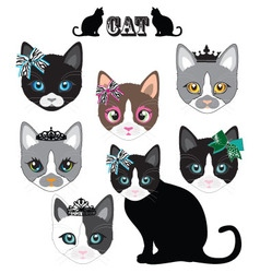 Cat face cute set vector