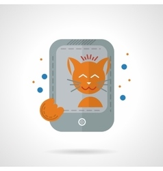 Cat taking photo flat color icon vector