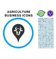 Cattle marker rounded icon with set vector