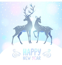 Deer silhouette new year vector image vector image
