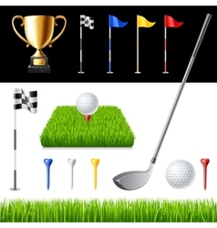 Golf club icons set isolated vector image