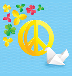 hippie peace symbol with flowers and origami vector image