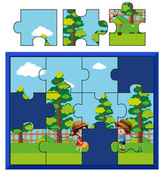 Jigsaw puzzle pieces for kids watering plants vector