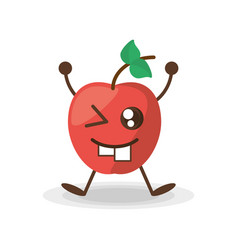 Kawaii apple fruit healt vector