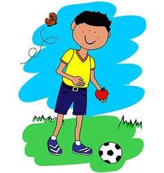 Little boy with ball and apple vector image