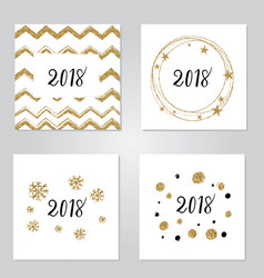 new year gold set lettering vector image