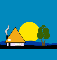 Night house in the nature vector