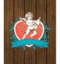 red heart and cupid vector image vector image