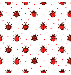 seamless pattern with red ladybug vector image vector image