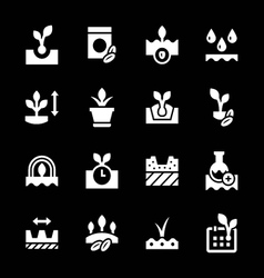 Set icons of seed and seedling vector
