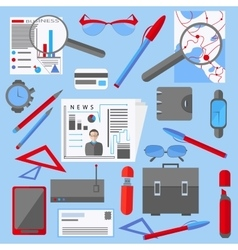 Set isolated office and business elements phone vector image
