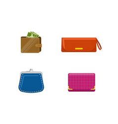 set of purses and wallets with mone set of vector image vector image