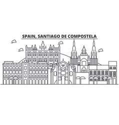 spain santiago de compostela architecture line vector image