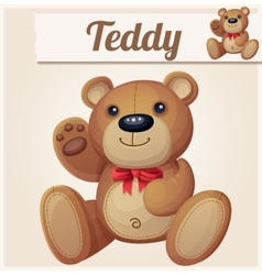 Teddy bear with red bow waves the paw vector