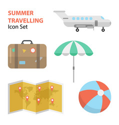 travelling flat set vector image