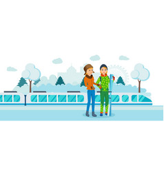 Two friends with skis at railway winter station vector