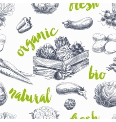 vegetables retro seamless pattern vector image vector image