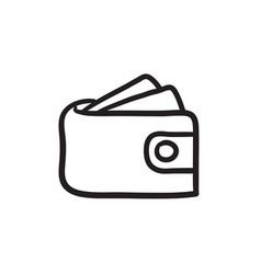 Wallet with money sketch icon vector