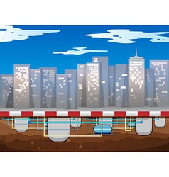 Water pipe underground of the city vector
