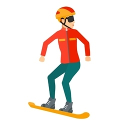 Young woman snowboarding vector image vector image