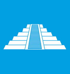 Ziggurat in chichen itza icon white vector
